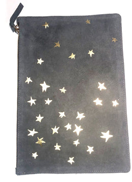 Clare V. Blue Grey Suede Clutch with Gold Stars