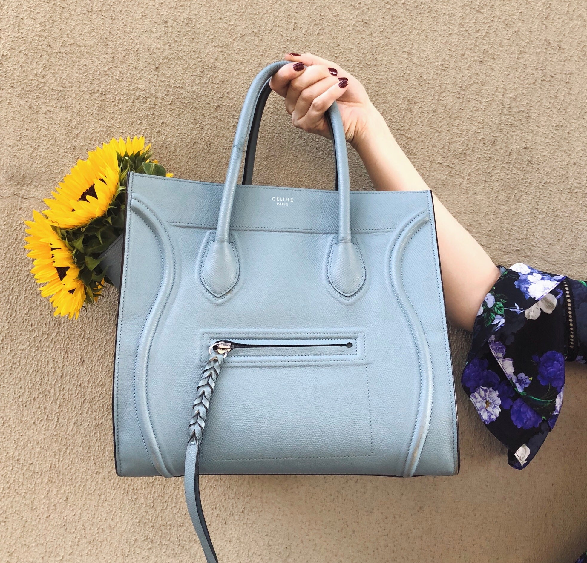 Celine Medium Luggage Phantom Blue Leather Tote