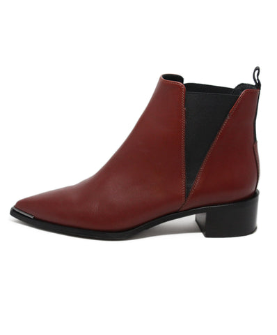 Acne Red Wine Leather Booties 1