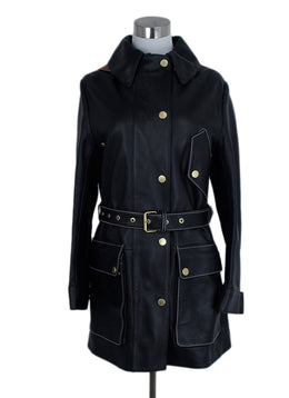 Acne Studios Black Leather Brown Trim Trenchcoat Outerwear 1