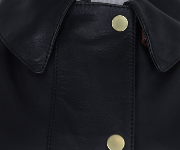 Acne Studios Black Leather Brown Trim Trenchcoat Outerwear 6
