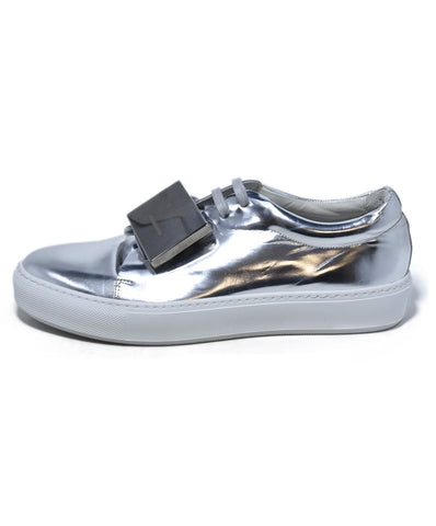 Acne Metallic Silver Leather Sneakers 1