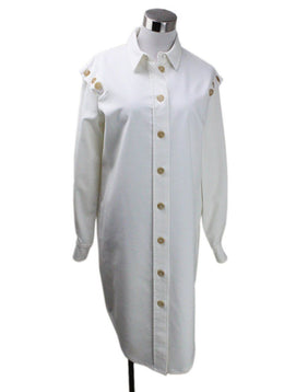 Adeam White Polyester Rayon Buttons Dress