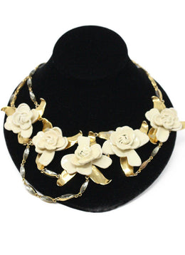 Aerin Metallic Gold Ivory Resin Flower Necklace 1