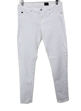 Ag White Cotton Denim Pants