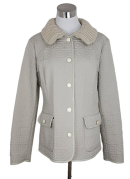 Agnona Beige Quilted Nylon Leather Trim Jacket 1