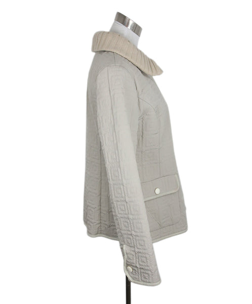 Agnona Beige Quilted Nylon Leather Trim Jacket 2