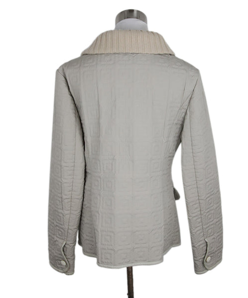 Agnona Beige Quilted Nylon Leather Trim Jacket 3