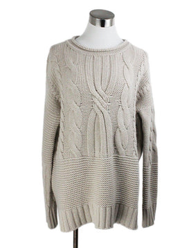 Agnona Beige Cashmere Cable Sweater 1