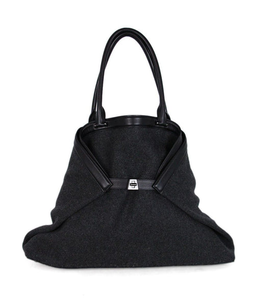 Akris Black Leather Charcoal Wool Handbag 1