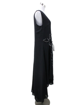Akris Black Silk White Applique Dress Sz 8