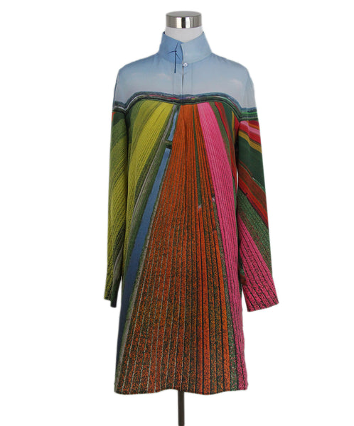 Akris Blue orange pink yellow silk dress 1