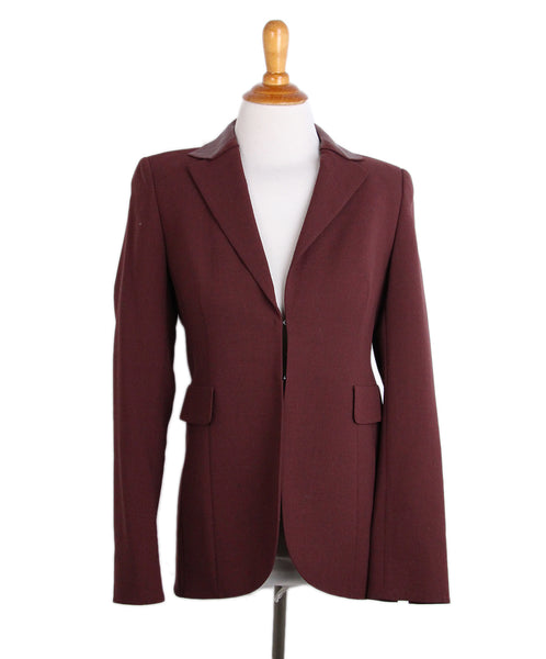Akris Burgundy Wool Leather trim Jacket 1