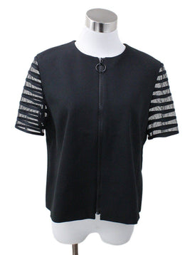 Akris Punto Black Short Sleeve Jacket sz 10