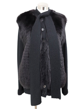 Akris Punto Black Wool Fox Fur Trim Sweater 1