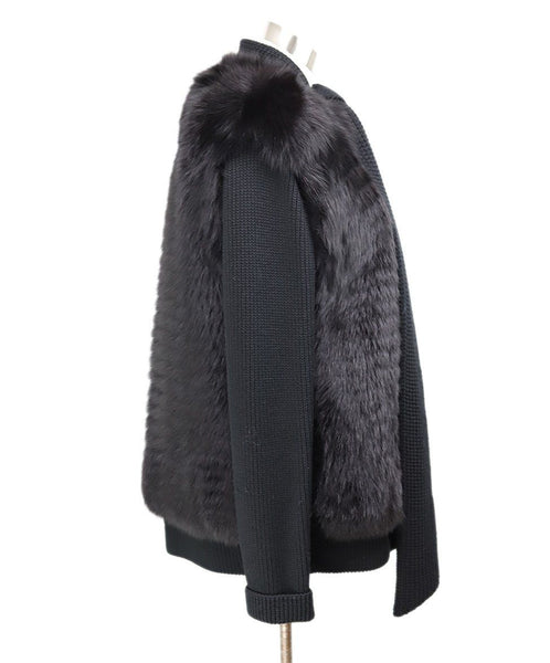Akris Punto Black Wool Fox Fur Trim Sweater 2