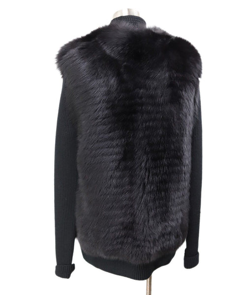 Akris Punto Black Wool Fox Fur Trim Sweater 3