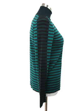 Akris Punto Green Black Stripes Wool Sweater 2