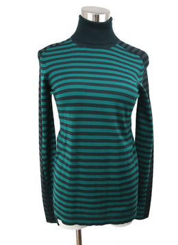 Akris Punto Green Black Stripes Wool Sweater 1