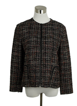 Akris Punto Black Beige Red Wool Tweed Jacket 1