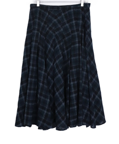 Akris Punto Black Green Plaid Wool Long Skirt 1