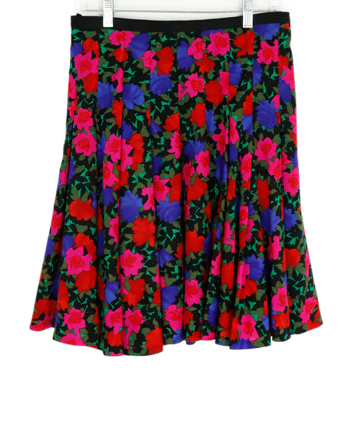 Akris Punto Pink Red Purple Floral Wool Skirt 1