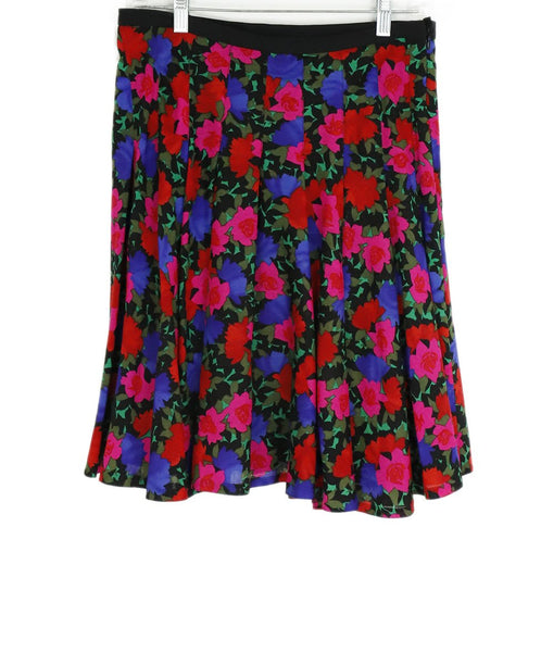 Akris Punto Pink Red Purple Floral Wool Skirt 2