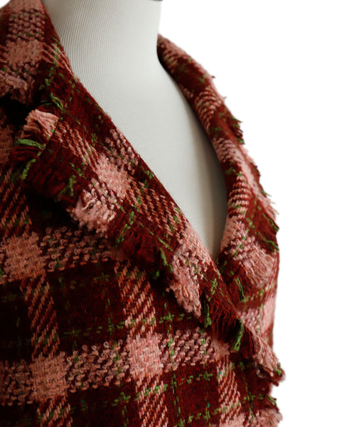 Akris Punto Pink Wine Green Tweed Wool Jacket 5
