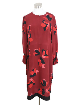Akris Punto Red Burgundy Black Print Silk Dress 1