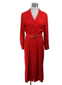 Akris Red Linen Dress with slip and belt 1