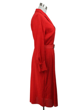 Akris Red Linen Dress with slip and belt 2