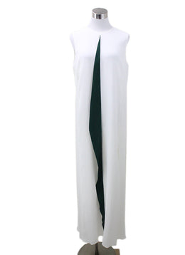 Akris White Silk Green Trim Dress Sz 10