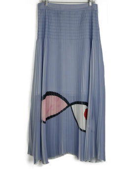 Akris Lavender Long Pleated Skirt 1