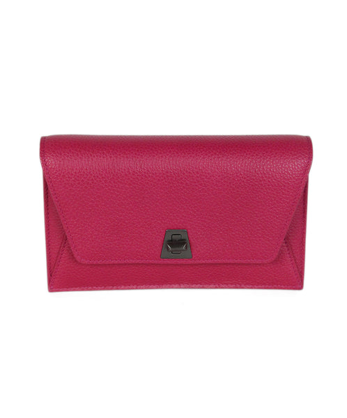 Akris pink leather clutch 1