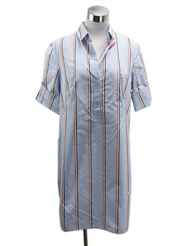 Akris Punto Blue White Orange Stripes Cotton Dress