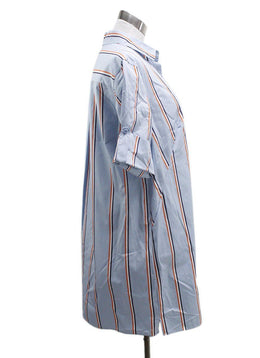 Akris Punto Blue White Orange Stripes Cotton Dress 1