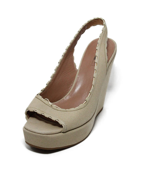Alaia Beige Canvas Wedges 1