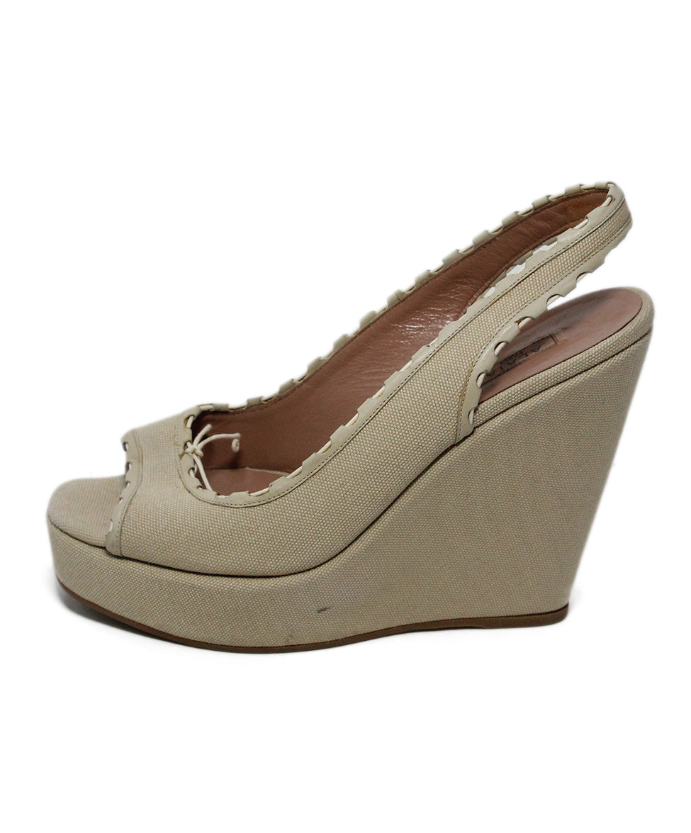 Alaia Beige Canvas Wedges 2