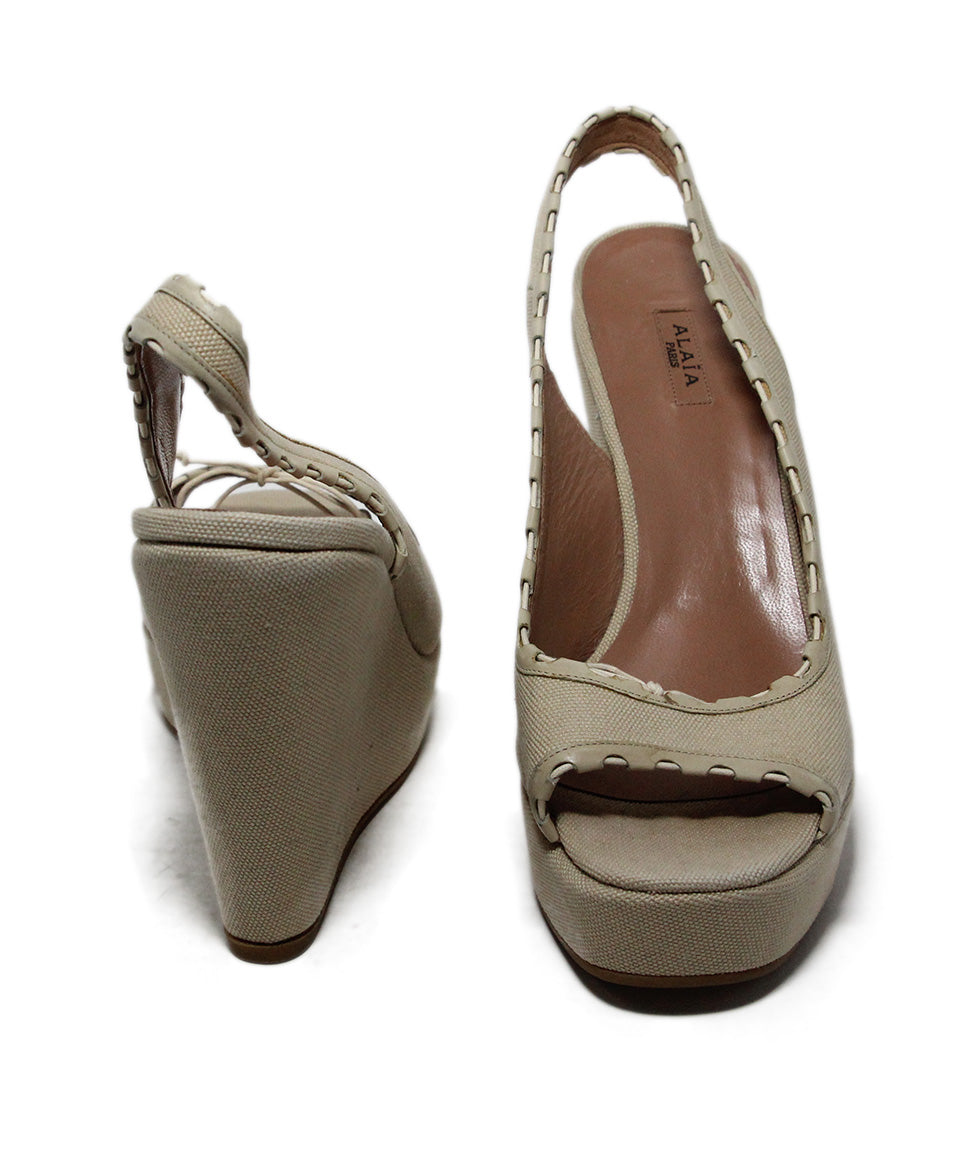 Alaia Beige Canvas Wedges 3