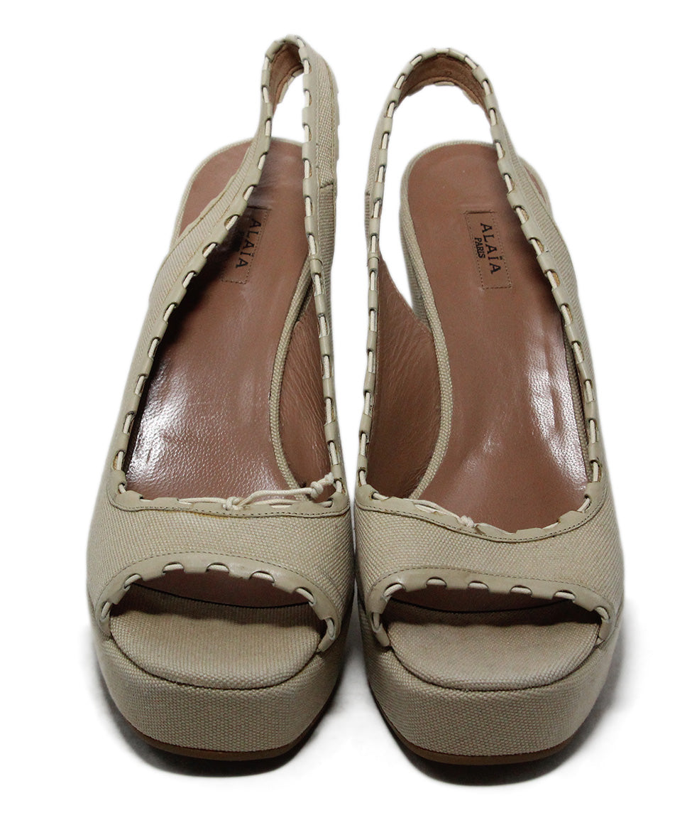 Alaia Beige Canvas Wedges 4