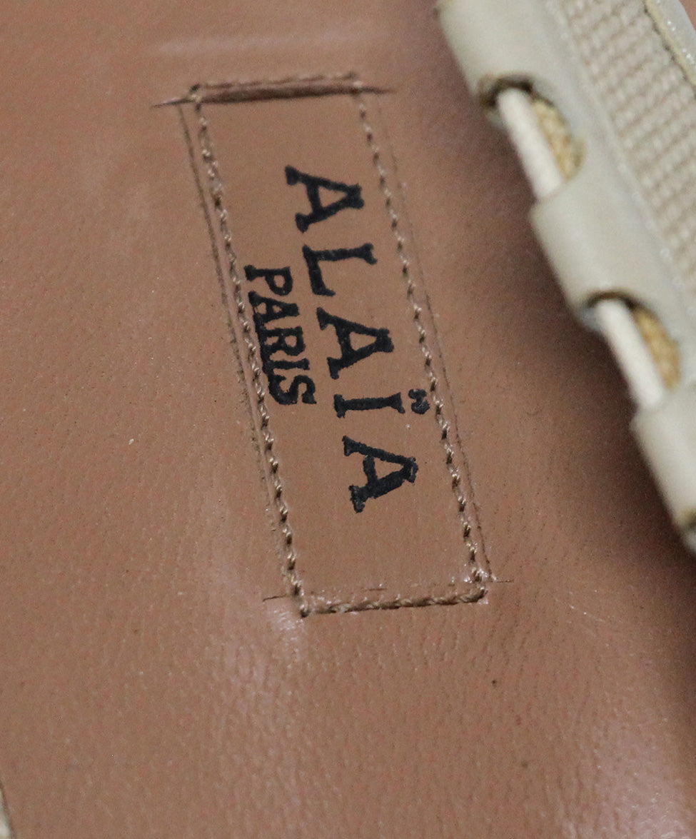 Alaia Beige Canvas Wedges 7
