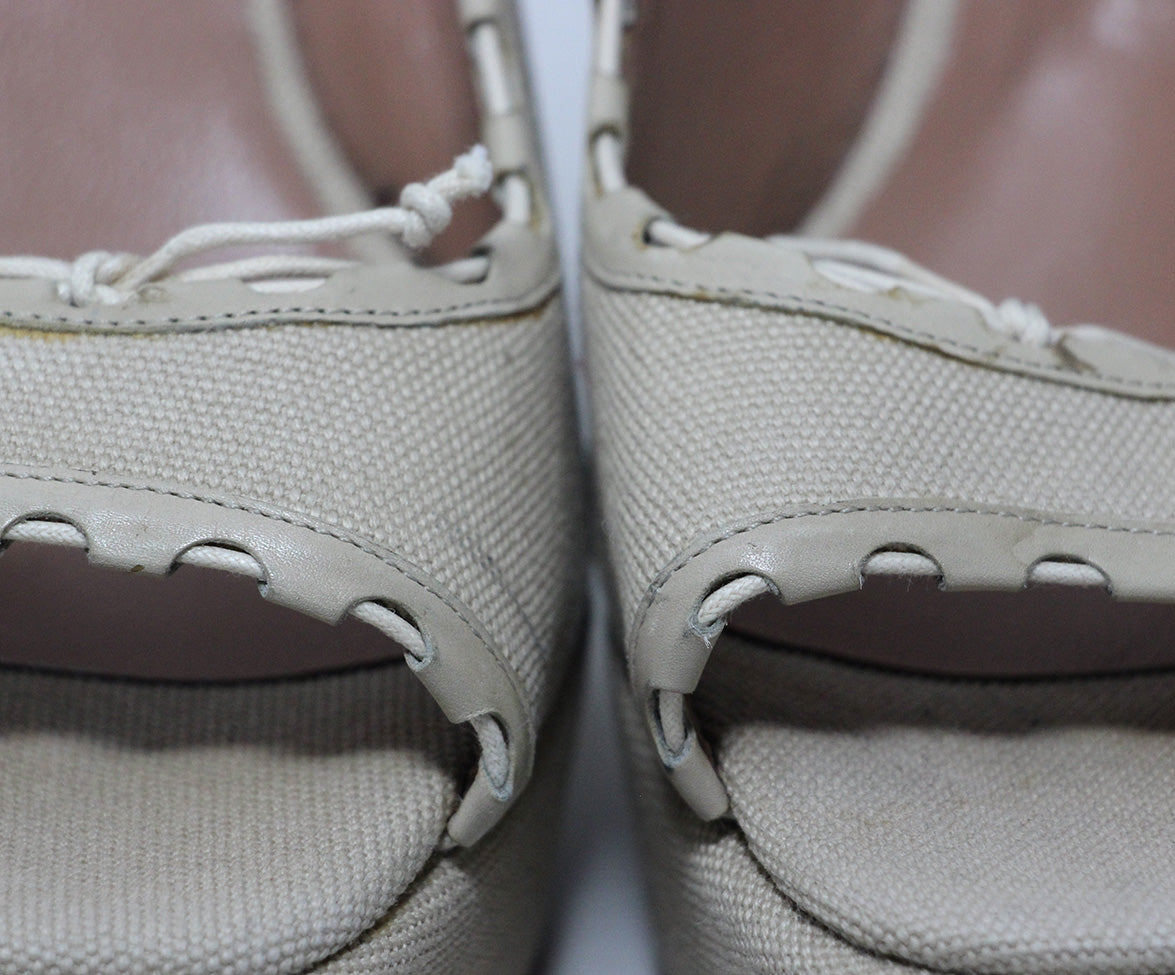 Alaia Beige Canvas Wedges 8