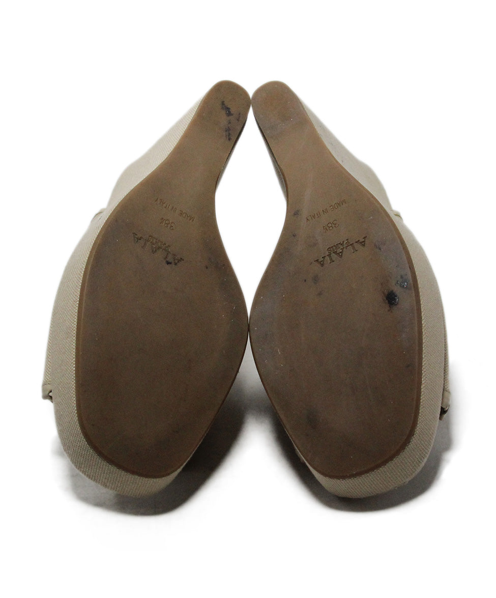 Alaia Beige Canvas Wedges 5