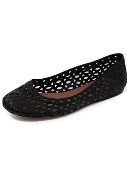 Alaia Black Cutwork Leather Flats