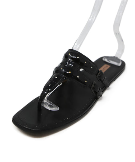 YSL Black Leather Strap Wedges Sz 40