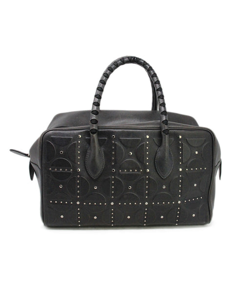 Alaia Grey Leather Studs Satchel Handbag