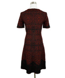 Alaia Red Black Viscose Wool Printed Dress 1