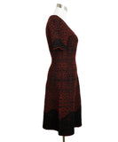 Alaia Red Black Viscose Wool Printed Dress 2