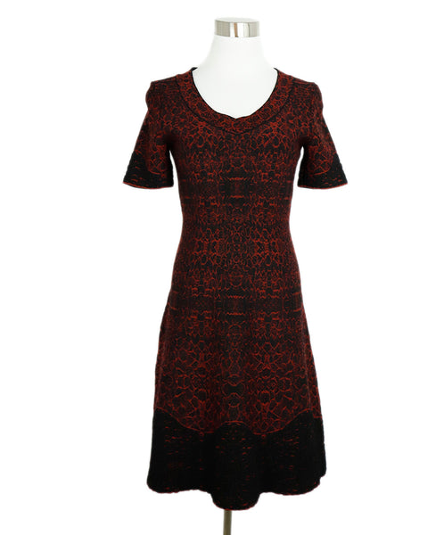Alaia Red Black Viscose Wool Printed Dress 3