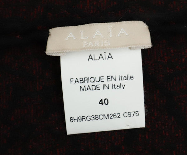 Alaia Red Black Viscose Wool Printed Dress 4